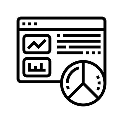 ícone dashboard com dados de domo