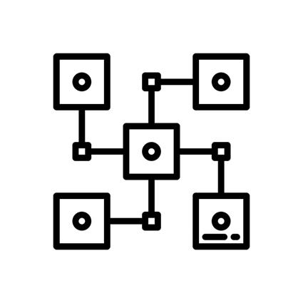 ícone distribuição de dados estratégicos